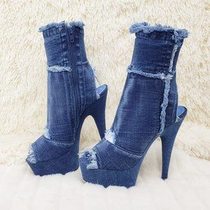 "Stretch Denim Frayed Trim Ankle Boots 6"" Heels"